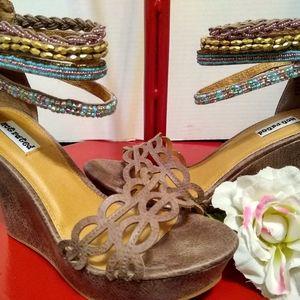 Not Rated Beaded Tribal Wedge Heel Sandal, Size 8